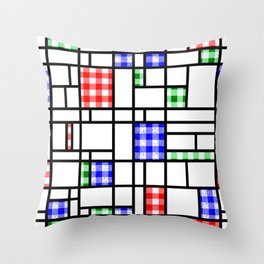 Gingham Blue Red and Green Modern Art Grid Pattern Throw Pillow