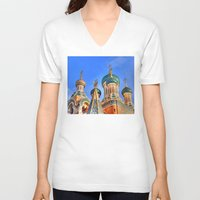 russia V-neck T-shirts featuring Basilica in Russia  by Limitless Design