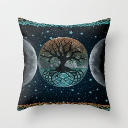 Autumn Esoteric Triple Moon Throw Pillow