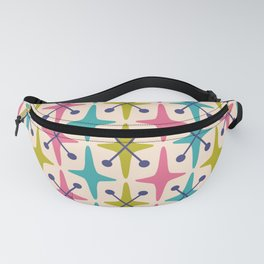 Mid Century Modern Abstract Star Pattern 942 Pink Chartreuse Turquoise and Blue Fanny Pack
