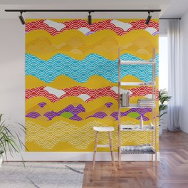 Summer bright pattern  scales simple Nature background with Chinese wave circle pattern Wall Mural