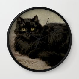 Vintage Painting of a Black Cat (1903) Wall Clock