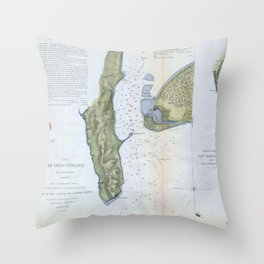 Vintage Map of San Diego & Coronado (1853) Throw Pillow
