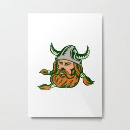 Viking Warrior Head Woodcut Metal Print