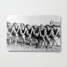 Vintage Bathing Beauties on the Beach Metal Print