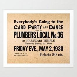 Party at the Plumbers Local No. 36 Art Print