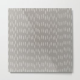 Festive, Boho Prints, Raindrops, Gray, Minimalism, Abstract Art Metal Print