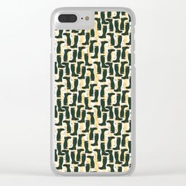 Hunter Green Wellington Welly Boots with Buttercup Flowers on Butter Yellow Streaky Stripes Clear iPhone Case