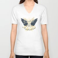 destiel V-neck T-shirts featuring A Profound Bond - Dark wings by brightfallenstars