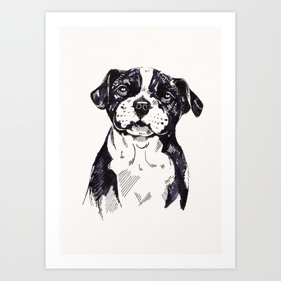 Staffy Pup Sketch Art Print