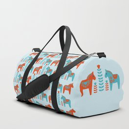 Scandinavian Folk Art Dola Horses and Flowers Duffle Bag