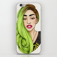 neon iPhone & iPod Skins featuring Lady Neon by Helen Green