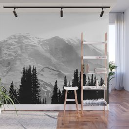 Mount Rainier Black and White Wall Mural