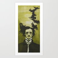 edgar allen poe Art Prints featuring Edgar Allen Poe by Meggy Stropki