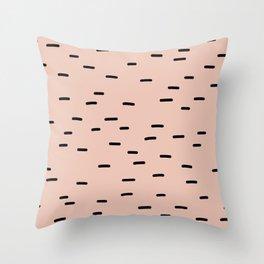 Peach dash abstract stripes pattern Throw Pillow
