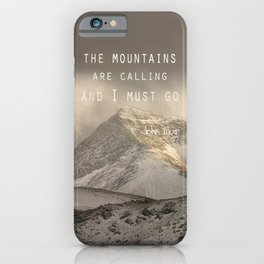 The Mountains are calling, and I must go.  John Muir. Vintage. iPhone Case