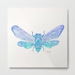 Summer Cicada – Blue Ombré Palette Metal Print