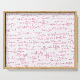 Pink Math Equations Serving Tray