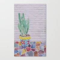 cactus Canvas Prints featuring Cactus by Rabbits In The Sky