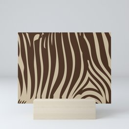 Zebra Stripes | Animal Print | Chocolate Brown and Beige | Mini Art Print