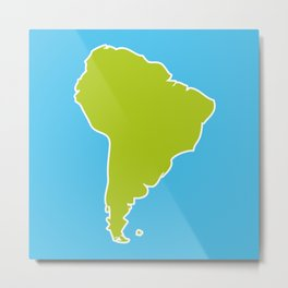 South America map blue ocean and green continent. Vector illustration Metal Print
