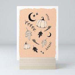 Halloween, pumpkin, moon, stars and leaf Mini Art Print