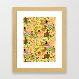Nudes & Flowers Pattern Framed Art Print