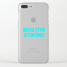 Support BOSTON STRONG Turquoise Grunge Clear iPhone Case