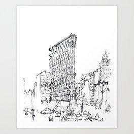 NYC Flatiron Building Sketch Art Print