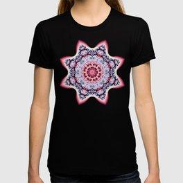 Fantasy pattern flower in purple,pink, blue & salmon T-shirt