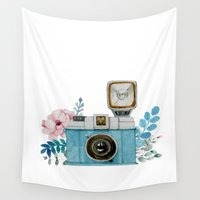 vintage camera Wall Tapestries featuring Camera Vintage by Celosa Art