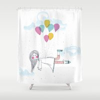 baloon Shower Curtains featuring Love is in the Air by huemula