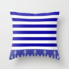 Blue And White Stripes Anchor Throw Pillow