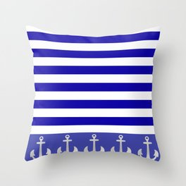 Blue And White Stripes Anchor Throw Pillow