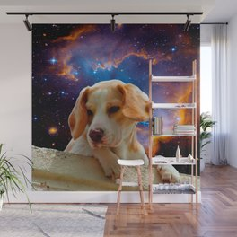 beagle puppy on the wall looking at the universe Wall Mural