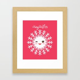 Merry Christmas card design Kawaii white snowflake funny face with eyes and red cheeks on pink Framed Art Print