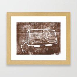 Vintage Radio Lino Framed Art Print