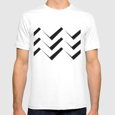 Geometric abstract - zigzag black and white. White MEDIUM Mens Fitted Tee