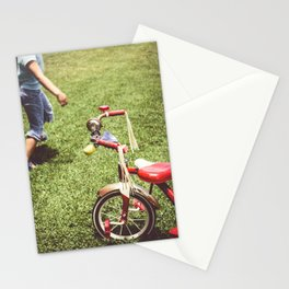 girl and old tricycle,vintage picture style Stationery Cards