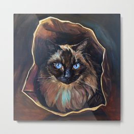 The Ragdoll Cat Is in the Bag Metal Print