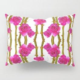 "FUCHSIA PINK ""ROSES & THORNS"" WHITE ART Pillow Sham"