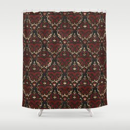 Persian Oriental Pattern - Black and Red Leather Shower Curtain