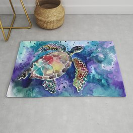 Sea Turtle underwater, beach deep blue barine blue turtle beach style design Rug