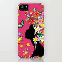Hummingbird Kiss on Floral Girl  iPhone Case