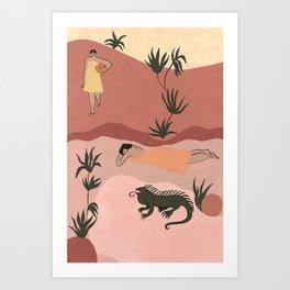 Sisters and Iguana Art Print