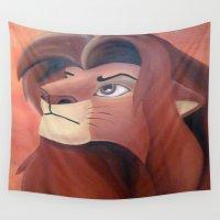 simba Wall Tapestries featuring Simba by Jgarciat