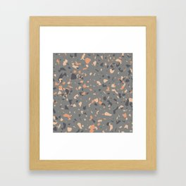 Coral and Gray Terrazzo Pattern Framed Art Print