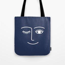 Wink / Navy Tote Bag