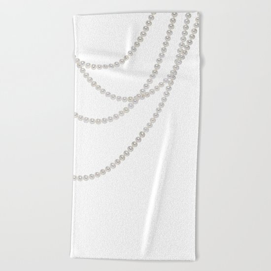 White Pearls Beach Towel