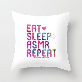 Eat Sleep ASMR Repeat Brain Whisper Throw Pillow